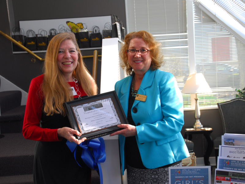 Dr. Denise Casey receives Certificate of Recognition from Barrington Area Chamber of Commerce President and CEO Suzanne Corr during the April 14, 2016, Ribbon Cutting event at Barrington Behavioral Health & Wellness