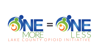 Logo of, and link to, the Lake County Opioid Initiative 'One More=One Less' program. For more information, contact Barrington Behavioral Health and Wellness at 888-261-2178