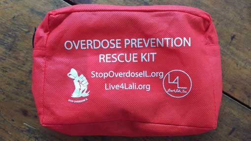 Image of an Overdose Prevention Kit supplied by Live4Lali.org - For more information contact Barrington Behavioral Health & Wellness at 888-261-2178