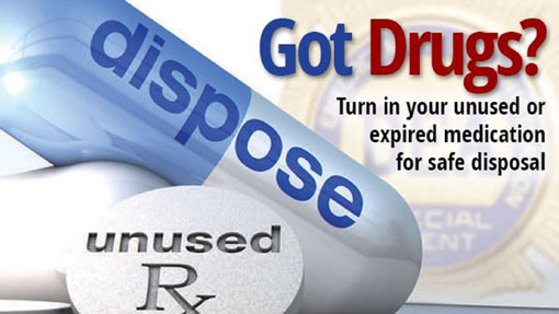 Image of 'Got Drug's Prescription Drug Take Back Event - Wednesday, August 30, 2017 | 3-7 PM - Arlington Heights Police Department - For more information, click the image or call Barrington Behavioral Health & Wellness at 888-261-2178.