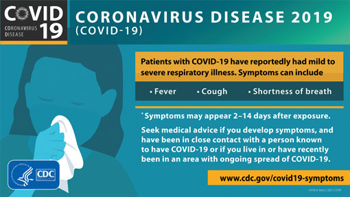CDC (Center for Disease Control and Prevention) infographic illustrating basic symptoms and incubation period for the coronavirus (COVID-19). Click on the infographic to be taken to the CDC.gov website. Clicking on the illustration will open a new tab in your browser. Learn more about COVID-19, the coronavirus, at the Center for Disease Control and Prevention (https://cdc.gov)  If you, or your family, feel any of these symptoms, fever, cough, shortness of breath, stay home and contact your primary medical care provider.