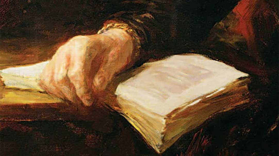 "An, ""old master"" painting of a hand resting on an open book on a table. Join Elderwerks and Barrington Behavioral Health and Wellness, the first and third Tuesday of each month, for a FREE monthly Book Club by webinar to read and share ""The Gift of Years"" by Joan Chittister. Email events@elderwerks.org to register or call: 847-462-0885"